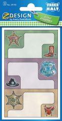 Avery Zweckform Z-Design No. 59192 papír matrica iskolai füzetekre - sheriff motívumokkal - kiszerelés: 3 ív / csomag (Avery Z-Design 59192)