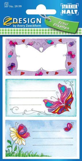 Avery Zweckform Z-Design No. 59199 öntapadó füzet matrica - pillangó motívumokkal - kiszerelés: 2 ív / csomag (Avery Z-Design 59199)