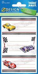 Avery Zweckform Z-Design No. 59201 öntapadó füzet matrica - versenyautók motívumokkal - kiszerelés: 2 ív / csomag (Avery Z-Design 59201)