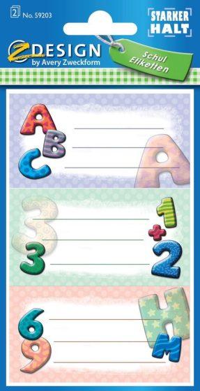 Avery Zweckform Z-Design No. 59203 öntapadó füzet matrica - iskolai motívumokkal - kiszerelés: 2 ív / csomag (Avery Z-Design 59203)