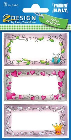 Avery Zweckform Z-Design No. 59243 öntapadó füzet matrica - színes díszes kerettel - kiszerelés: 2 ív / csomag (Avery Z-Design 59243)