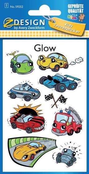 Avery Zweckform Z-Design No. 59252 sötétben világító,  öntapadó matrica - különféle autók, járművek motívumokkal - kiszerelés: 1 ív / csomag (Avery Z-Design 59252)