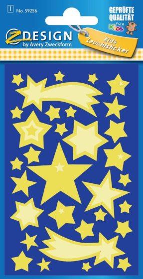 Avery Zweckform Z-Design No. 59256 sötétben világító,  öntapadó matrica - csillagok motívumokkal - kiszerelés: 1 ív / csomag (Avery Z-Design 59256)