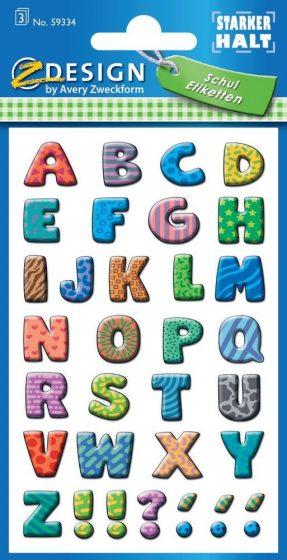 Avery Zweckform Z-Design No. 59334 papír öntapadó nagybetűk - vegyes színben - kiszerelés: 3 ív / csomag (Avery Z-Design 59334)