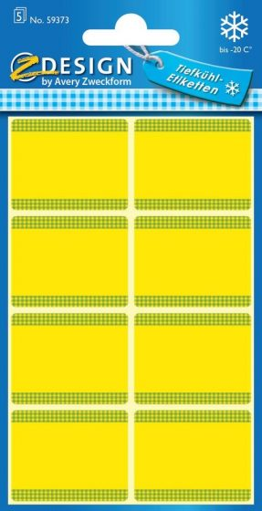 Avery Zweckform Z-Design No. 59373 papír matrica fagyasztott termékek feliratozására, megjelölésére - sárga színben - kiszerelés: 5 ív / csomag (Avery Z-Design 59373)