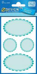 Avery Zweckform Z-Design No. 59399 papír matrica befőttes üvegre - türkizkék színű, fodros kerettel - kiszerelés: 2 ív / csomag (Avery Z-Design 59399)