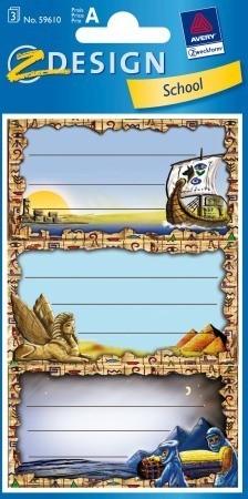 Avery Zweckform Z-Design No. 59610 papír matrica iskolai füzetekre - egyiptomi motívumokkal - kiszerelés: 3 ív / csomag (Avery Z-Design 59610)