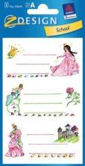 Avery Zweckform Z-Design No. 59644 papír matrica iskolai füzetekre - hercegnős motívumokkal - kiszerelés: 3 ív / csomag (Avery Z-Design 59644)