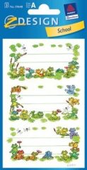 Avery Zweckform Z-Design No. 59648 papír matrica iskolai füzetekre - zöld békák motívumokkal, aranyozással - kiszerelés: 2 ív / csomag (Avery Z-Design 59648)