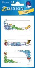 Avery Zweckform Z-Design No. 59649 papír matrica iskolai füzetekre - víz alatti élőlények motívumokkal - kiszerelés: 3 ív / csomag (Avery Z-Design 59649)