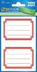 Avery Zweckform Z-Design No. 59686 öntapadó füzet matrica - piros színű kerettel - kiszerelés: 6 ív / csomag (Avery Z-Design 59686)