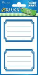 Avery Zweckform Z-Design No. 59687 öntapadó füzet matrica - kék színű kerettel - kiszerelés: 6 ív / csomag (Avery Z-Design 59687)