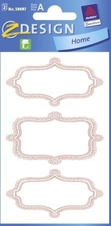 Avery Zweckform Z-Design No. 59697 papír matrica befőttes üvegre - dombornyomott piros kerettel - kiszerelés: 2 ív / csomag (Avery Z-Design 59697)