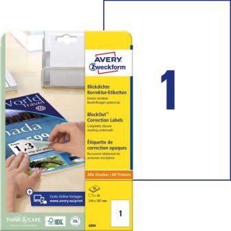 Avery Zweckform No. 6094 univerzális 210 x 297 mm méretű, fehér öntapadó nagy fedőképességű címke A4-es íven - 25 címke / csomag - 25 ív / csomag (Avery 6094)