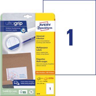 Avery Zweckform No. 6119 univerzális 210 x 297 mm méretű, fehér öntapadó etikett címke A4-es íven - 30 címke / csomag - 30 ív / csomag (Avery 6119)