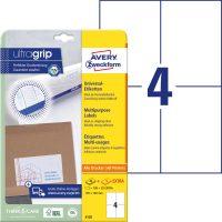 Avery Zweckform No. 6120 univerzális 105 x 148 mm méretű, fehér öntapadó etikett címke A4-es íven - 100 címke / csomag - 25 ív / csomag (Avery 6120)