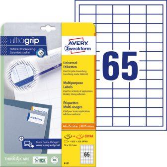 Avery Zweckform No. 6121 univerzális 38 x 21,2 mm méretű, fehér öntapadó etikett címke A4-es íven - 1950 címke / csomag - 30 ív / csomag (Avery 6121)