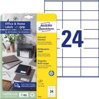 Avery Zweckform No. 6122 univerzális 70 x 36 mm méretű, fehér öntapadó etikett címke A4-es íven - 240 címke / csomag - 10 ív / csomag (Avery 6122)