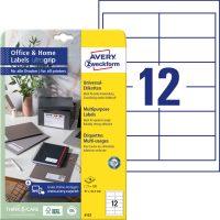 Avery Zweckform No. 6123 univerzális 97 x 42,3 mm méretű, fehér öntapadó etikett címke A4-es íven - 120 címke / csomag - 10 ív / csomag (Avery 6123)