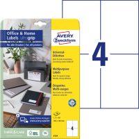 Avery Zweckform No. 6124 univerzális 105 x 148 mm méretű, fehér öntapadó etikett címke A4-es íven - 40 címke / csomag - 10 ív / csomag (Avery 6124)