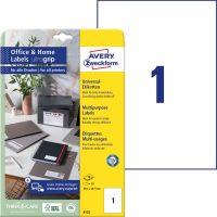Avery Zweckform No. 6125 univerzális 210 x 297 mm méretű, fehér öntapadó etikett címke A4-es íven - 10 címke / csomag - 10 ív / csomag (Avery 6125)