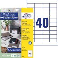 Avery Zweckform No. 6126 univerzális 48,5 x 25,4 mm méretű, fehér öntapadó etikett címke A4-es íven - 400 címke / csomag - 10 ív / csomag (Avery 6126)
