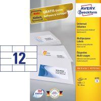Avery Zweckform No. 6131 univerzális 70 x 36 mm méretű, fehér öntapadó etikett címke A5-ös íven - 2400 címke / doboz - 200 ív / doboz (Avery 6131)