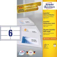 Avery Zweckform No. 6132 univerzális 97 x 42,3 mm méretű, fehér öntapadó etikett címke A5-ös íven - 1200 címke / doboz - 200 ív / doboz (Avery 6132)