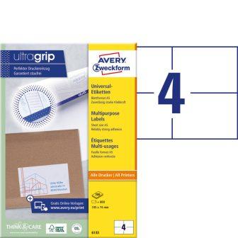Avery Zweckform No. 6133 univerzális 105 x 74 mm méretű, fehér öntapadó etikett címke A5-ös íven - 800 címke / doboz - 200 ív / doboz (Avery 6133)