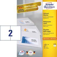 Avery Zweckform No. 6134 univerzális 105 x 148 mm méretű, fehér öntapadó etikett címke A5-ös íven - 400 címke / doboz - 200 ív / doboz (Avery 6134)