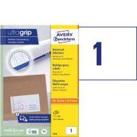 Avery Zweckform No. 6135 univerzális 210 x 148 mm méretű, fehér öntapadó etikett címke A5-ös íven - 200 címke / doboz - 200 ív / doboz (Avery 6135)