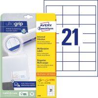 Avery Zweckform No. 6170 univerzális 64 x 36 mm méretű, fehér öntapadó etikett címke A4-es íven - 630 címke / csomag - 30 ív / csomag (Avery 6170)