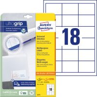 Avery Zweckform No. 6171 univerzális 64 x 45 mm méretű, fehér öntapadó etikett címke A4-es íven - 540 címke / csomag - 30 ív / csomag (Avery 6171)