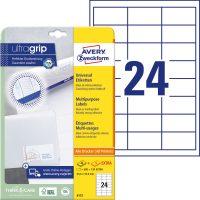 Avery Zweckform No. 6172 univerzális 64,6 x 33,8 mm méretű, fehér öntapadó etikett címke A4-es íven - 600 címke / csomag - 25 ív / csomag (Avery 6172)