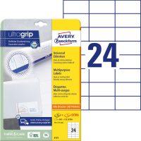 Avery Zweckform No. 6173 univerzális 70 x 37 mm méretű, fehér öntapadó etikett címke A4-es íven - 720 címke / csomag - 30 ív / csomag (Avery 6173)