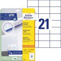 Avery Zweckform No. 6174 univerzális 70 x 42,3 mm méretű, fehér öntapadó etikett címke A4-es íven - 630 címke / csomag - 30 ív / csomag (Avery 6174)