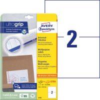 Avery Zweckform No. 6176 univerzális 210 x 148 mm méretű, fehér öntapadó etikett címke A4-es íven - 60 címke / csomag - 30 ív / csomag (Avery 6176)