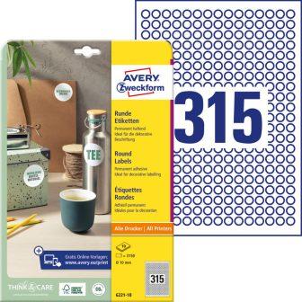Avery Zweckform 6221-10 kör alakú nyomtatható öntapadós etikett címke
