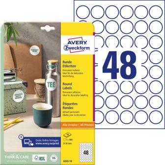 Avery Zweckform 6223-10 kör alakú nyomtatható öntapadós etikett címke