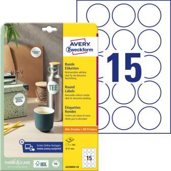 Avery Zweckform 6225REV-10 kör alakú nyomtatható öntapadós etikett címke