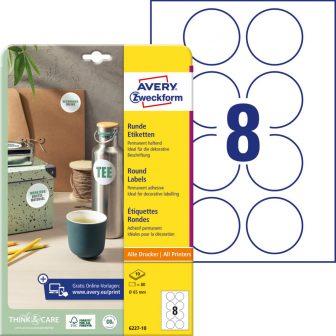 Avery Zweckform 6227-10 kör alakú nyomtatható öntapadós etikett címke