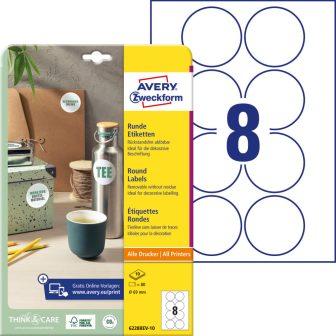 Avery Zweckform 6228REV-10 kör alakú nyomtatható öntapadós etikett címke