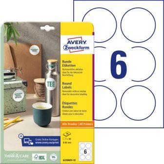 Avery Zweckform 6229REV-10 kör alakú nyomtatható öntapadós etikett címke