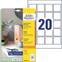 Avery Zweckform 6252REV-10 négyzet alakú nyomtatható öntapadós termék címke