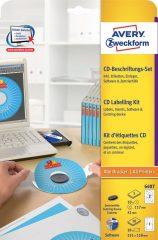 Avery Zweckform No. 6407 univerzális CD címkéző készlet - CD címke + CD tok betét + szoftver + központosító eszköz - 10 készlet / csomag (Avery 6407)