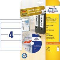 Avery Zweckform No. 6423 univerzális 61 x 192 mm méretű, fehér öntapadó iratrendező címke A4-es íven Avery Design & Print CD-vel - 80 címke / csomag - 20 ív / csomag (Avery 6423)
