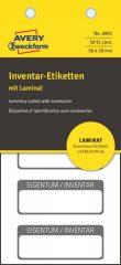 Avery Zweckform No. 6901 fehér színű 50 x 20 mm méretű, öntapadós önlamináló leltár címke fekete színű kerettel, Eigentum / Inventar NR. felirattal - kiszerelés: 50 címke / csomag (Avery 6901)