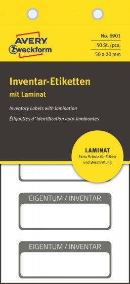 Avery Zweckform 6901 kézzel írható öntapadós biztonsági leltár címke Eigentum / Inventar felirattal