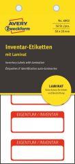 Avery Zweckform No. 6902 fehér színű 50 x 20 mm méretű, öntapadós önlamináló leltár címke piros színű kerettel, Eigentum / Inventar NR. felirattal - kiszerelés: 50 címke / csomag (Avery 6902)