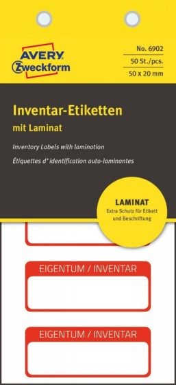 Avery Zweckform 6902 kézzel írható öntapadós biztonsági leltár címke Eigentum / Inventar felirattal